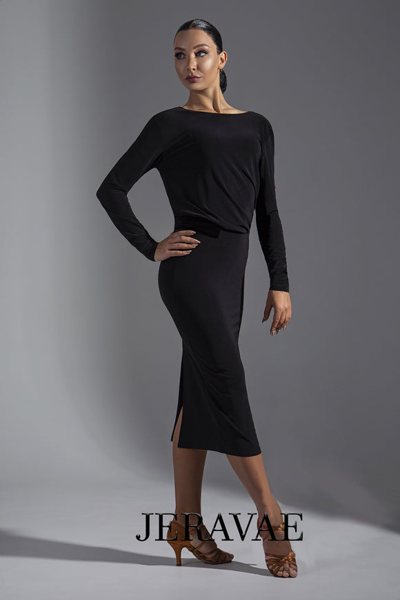 Long Black Latin/Club Dance Practice Dress with Long Sleeves Pra571a