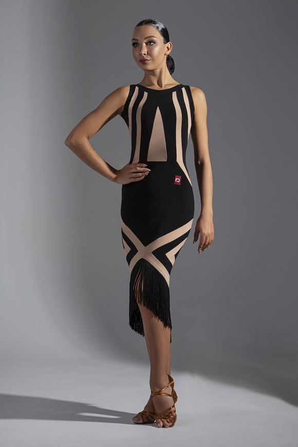 Sleeveless Black and Nude Color Block Latin Practice Dress with Asymmetrical Skirt and Fringe Hem Pra572