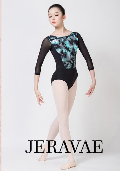 Cora Green and Black Impressionist Design Women's Ballet Leotard with 3/4 Mesh Sleeves