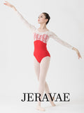 Courtney Red Women's Ballet Leotard with Lace Top and Sleeves