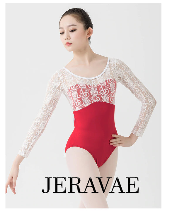 Courtney Red Women's Ballet Leotard with Lace Top and Sleeves In