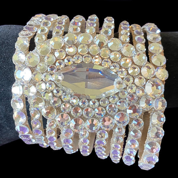Artistry in Motion By Julia Gorchekova Ballroom Bracelet with Swarovski Stones, Nude Mesh Background and Velcro Closure. Multiple Colors
