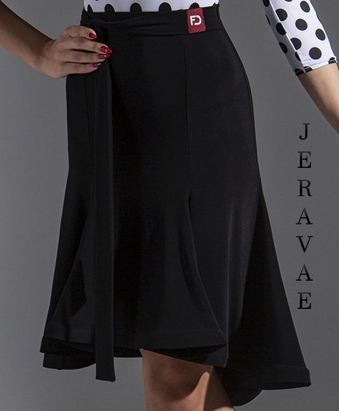 Classy Black Latin Practice Skirt With Tie and narrow Wrapped Horsehair Hem Pra633