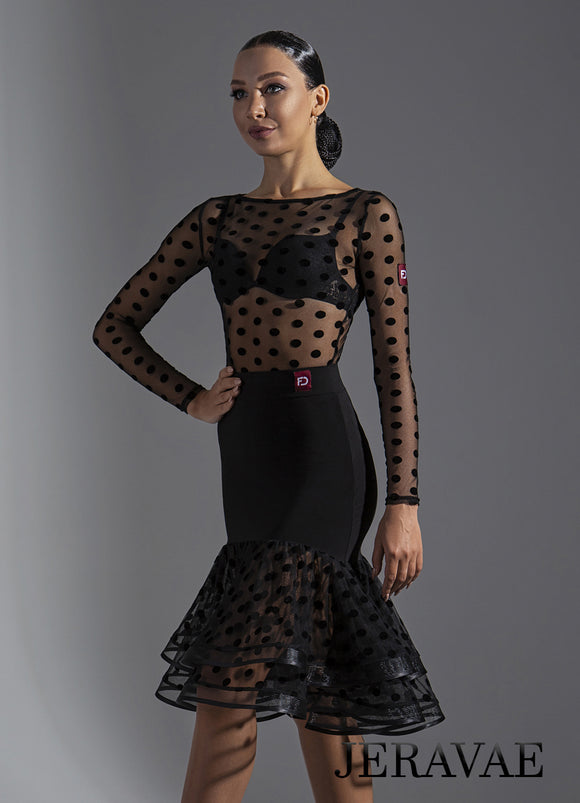 Latin Practice Skirt with Polka Dot Velvet Burnout Layers and Trimmed Horsehair Hems Pra631