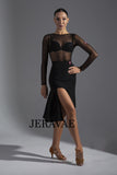 Sexy Black Latin Practice Dress with Elastic Waistband And Double Slit Features Wrapped Horsehair Hem Pra600