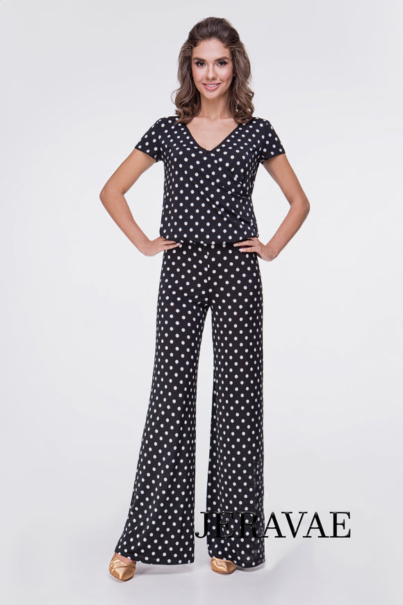 Adorable Polka Dot 1 Piece Ballroom or Latin Jumpsuit in Black and White with Short Sleeves and V Neck Pra554