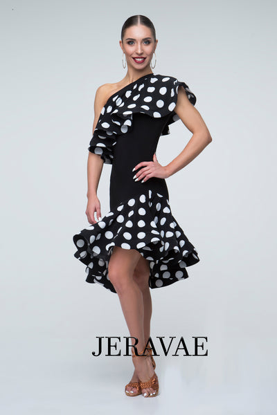 Black Rhythm/Latin Practice Dress with White Polka Dot Ruffle Over the Shoulder and on the Skirt Pra297