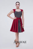 Adorable Short Latin or Rhythm Practice Dress with a Retro Style and Polka Dot Detail Perfect For Swing Dances or Solos Pra399