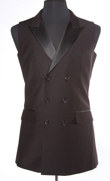 Double Breasted Smooth Ballroom Vest Black