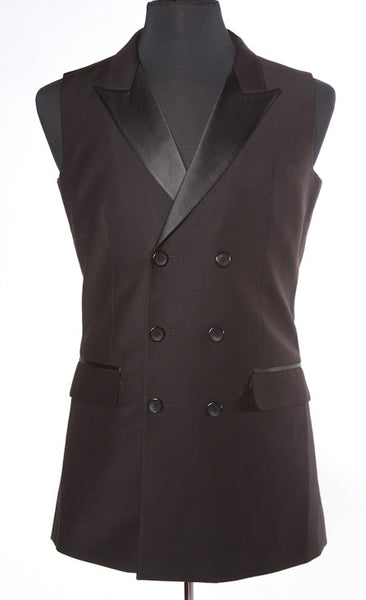 Double Breasted Smooth Ballroom Vest Black M037