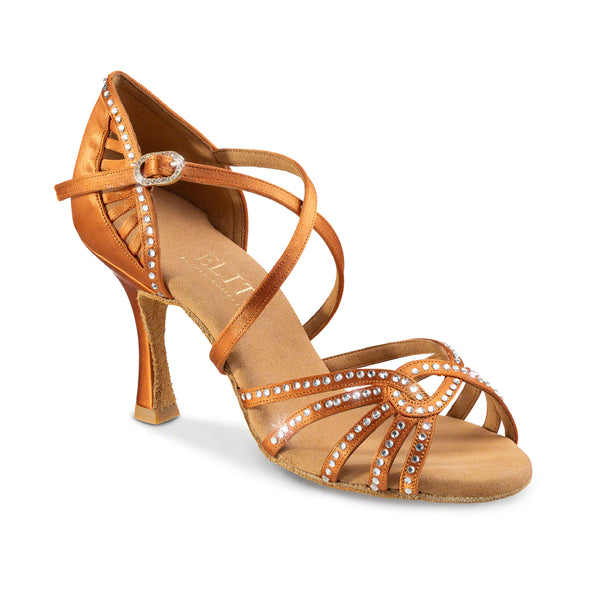 Dance Feel Eris Open Toe Latin or Rhythm Shoe with 2.5 Inch Flared Heel and Stones