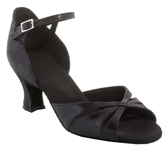 Dance Feel Open Toe Latin or Rhythm Ballroom Shoe with Textured Leather Choose 2 or 2.5 Inch  F14