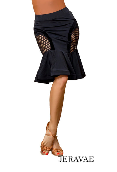 Fishnet Ruffle Black Latin Practice Skirt with Wrapped Horsehair Hem and Back Slit. Includes Built in Bodysuit  Available in Sizes S-XL Pra651