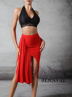 ZYM Dancestyles Ready 2 Dance Skirt #2005 Latin Practice Skirt with Uneven Hem and Draped Sash for Movement.  Available in 3 Colors Pra614