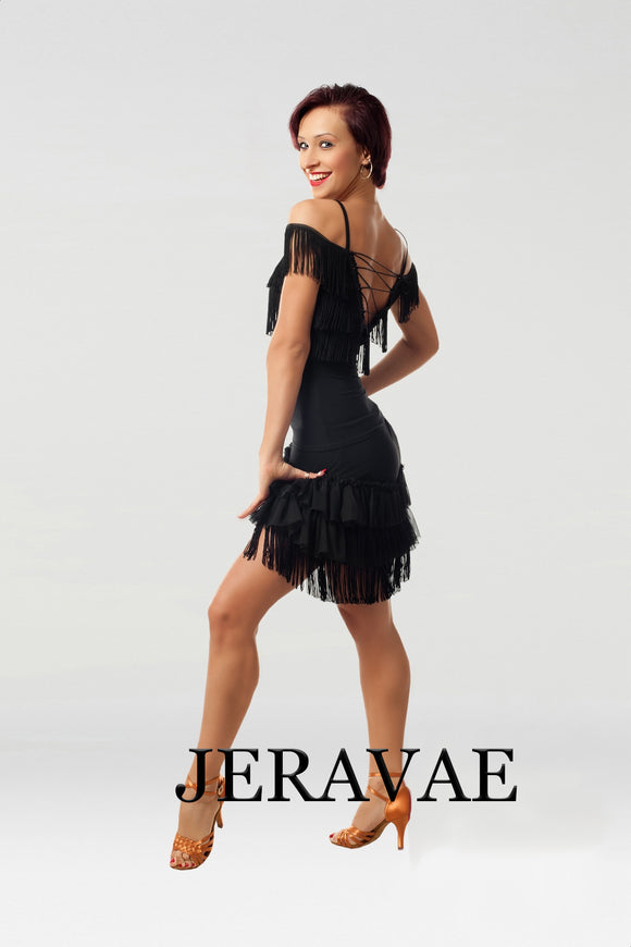 Fringe Latin Practice Skirt and Matching Top with Off the Shoulder Sleeves and Lace Up Back Pra452