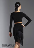 Diagonal cut Fringe Practice Skirt with Velvet Accents and Cross Pattern Cut. Comes with Trunks Pra632