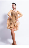 Black or Nude Latin Practice Dress with Fringe Accent on Top and on Skirt, Long Lace Sleeve and Wrapped Horsehair Hem Pra326
