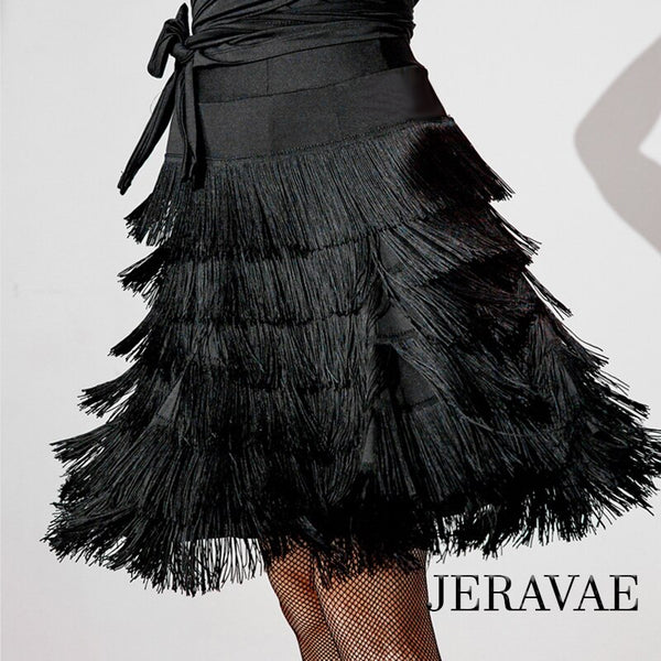 Multi Layer Black Fringe Latin Practice Skirt with Elastic Waistband Available in Sizes S-XXl Pra513_in