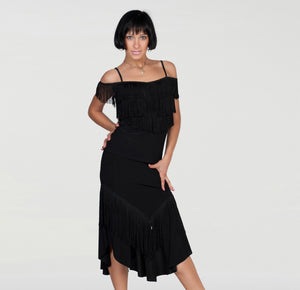 Long Black Latin Skirt with Full Gussets and Sleek Top.  Features Fringe Along Seam for Extra Movement Pra444