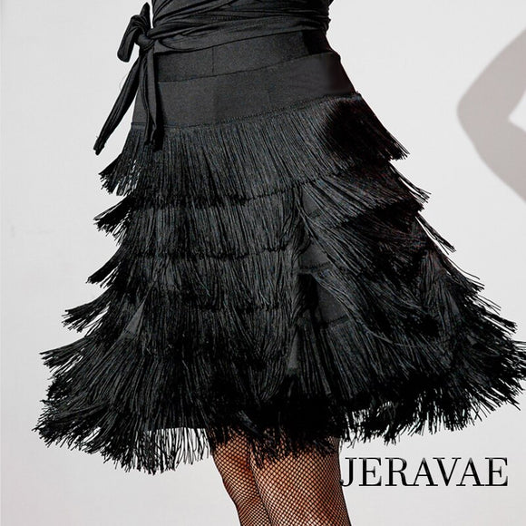 Multi Layer Black Fringe Latin Practice Skirt with Elastic Waistband Available in Sizes S-XXl Pra513