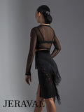 Sleek Black Latin Practice Skirt with Fringe and Lace Accents Features Front Slit and Velvet Waistband Pra585