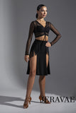 High Waist Black Latin Practice Dress with Fringe Detail and Double Front Slit Pra583