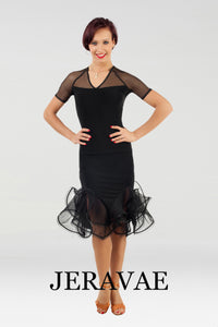 Black Latin Practice Skirt with Sleek Hipline and Full Gussets with Matching Short Sleeve Practice Top Pra478