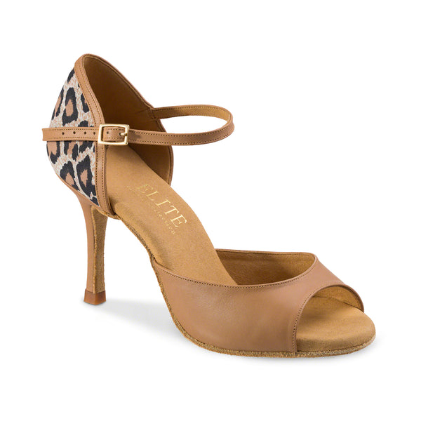 Dance Feel Leopard and Tan Leather Open Toe Latin or Rhythm Dance Shoes with 3 Inch Stiletto Heel Gabi