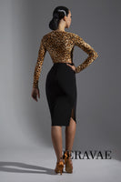 Long Sleeve Crop Top Practice Top with Optional Gather Tie Available in Leopard Print or Floral Pra607