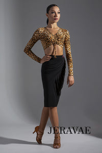 Cross Gather Latin Practice Skirt with Side Slit.  Available in Multiple Color Options Pra606