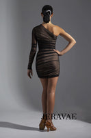 Sexy Latin/Salsa Dress with Gathered Mesh Over Nude Line Crepe and Single Mesh Long Sleeve Pra570