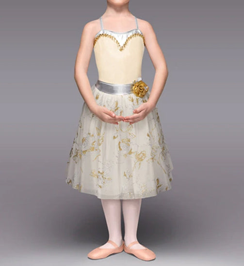 Beautiful Brandi Gold and Silver Ballet Costume with Satin Belt and Straps and Gold Floral Details. Child or Adult