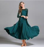 Long Ballroom Dress with Turned Lace Sash and Long Lace Sleeves.  Available in 7 Colors and S-XXL Pra374