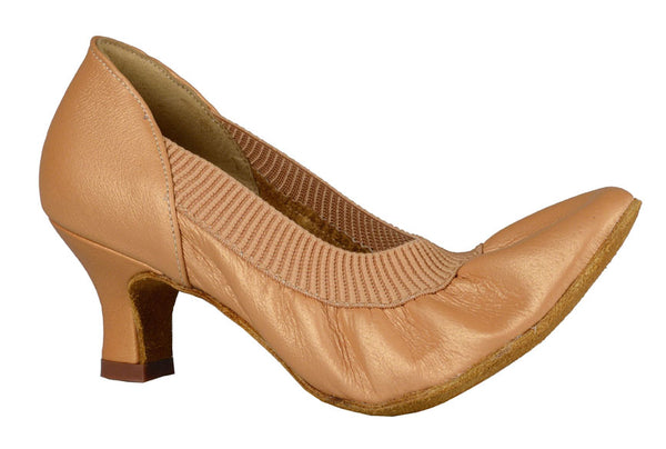 Dance America Ladies Practice Smooth Shoe with Comfortable Elasticized Leather Helena