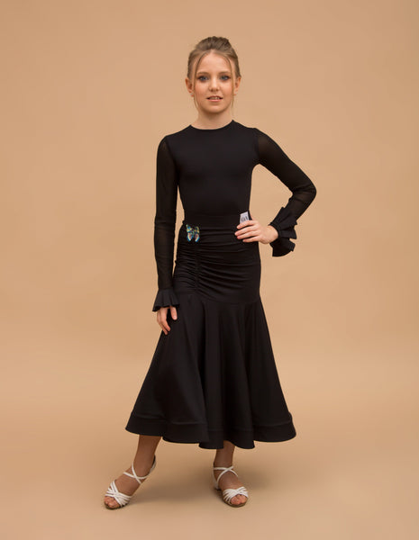 Girls Black Ballroom Standard Practice Skirt with Ruching through Hips, Wrapped Horsehair Hem, and Butterfly Detail BUTTERFLY You021