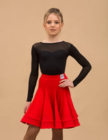Girls Ruffle Latin Practice Skirt with Wrapped Horsehair Hem and Elastic Waistband Available in Red or Black GODE_CLASSIC You017