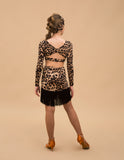 Girls Leopard Print Latin Practice Skirt with Black Fringe Hem LUSI_LEO You009
