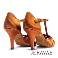 International Bran IDS MIA T Strap Latin Shoe with Woven Petal Straps and Stiletto Heel
