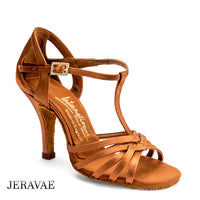 International Dance Shoes IDS LUCIA with Open Cutouts on Heel, T-Strap and Slim Heel