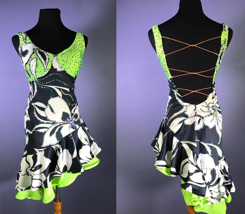 Resale Lime Black and White Rhythm Dress Artistry in Motion by Julia Gorchakova