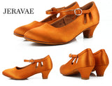 Children's Ballroom Dance Shoes with Buckle Closure and Cut Outs.  Light or Dark Tan Satin Available in 2 Heel Heights