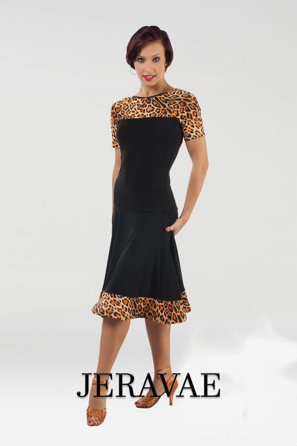 Straight Hem Black Practice Latin Skirt with Leopard Print Hem and Matching Short Sleeve Practice Top with High Neck and V Shape Leopard Accent Pra460