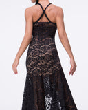 Black Lace High Low All Around Latin Practice Dress or Tango with Crossing Straps Pra401