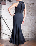 Long Black Practice Dress with Lace Panels and Bodice. Halter Collar Neckline and Tie Back Available in sizes S-XXL Pra077