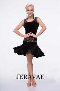 Black Velvet Latin Skirt with Lace Over Nude Lining and Matching Practice Top with Lace over Nude Lining Straps Pra469