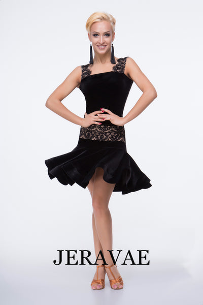 Black Velvet Latin Skirt with Lace Over Nude Lining Pra469