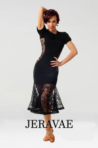 See-Through Lace Latin Practice Skirt with Wide Solid Waistband and Matching Short Sleeve Practice Top with Lace Inserts Pra462