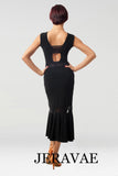 Long Black Latin Practice Skirt with Lace Insert Near Seam and Low Slit with Matching Sleeveless Practice Top with Lace Shoulder Pra449