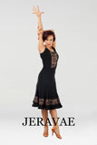 Black Latin Practice Skirt and Sleeveless Matching Practice Top with Lace Inserts and Nude Lining Pra451