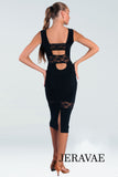 Below Knee Black Latin Practice Dress with Stretch Lace Strip and Back Slit. Pra630